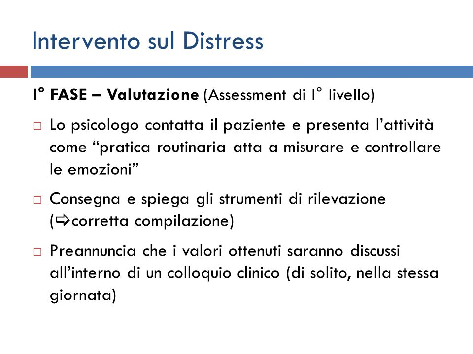 Intervento sul Distress