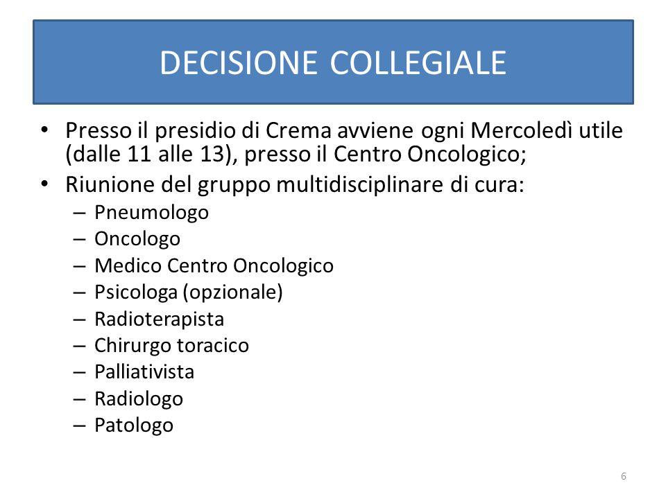 DECISIONE COLLEGIALE Presso il presidio di Crema avviene ogni Mercoledì utile (dalle 11 alle 13), presso il Centro Oncologico;