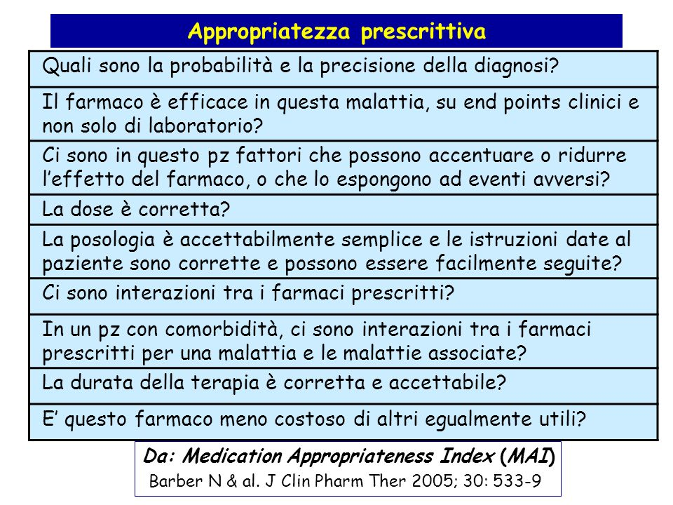 Appropriatezza prescrittiva Da: Medication Appropriateness Index (MAI)