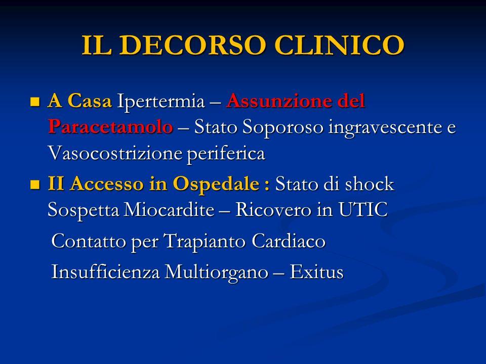 IL DECORSO CLINICOA Casa Ipertermia – Assunzione del Paracetamolo – Stato Soporoso ingravescente e Vasocostrizione periferica.