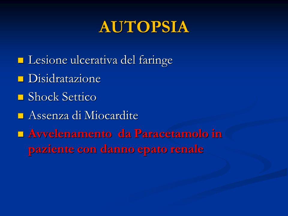 AUTOPSIA Lesione ulcerativa del faringe Disidratazione Shock Settico