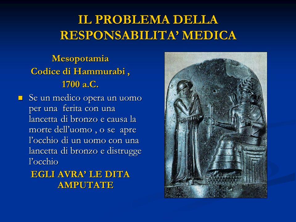 IL PROBLEMA DELLA RESPONSABILITA' MEDICA