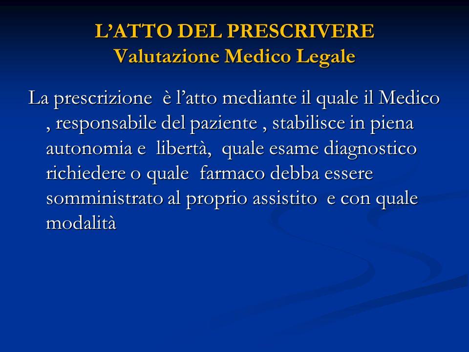 L'ATTO DEL PRESCRIVERE Valutazione Medico Legale