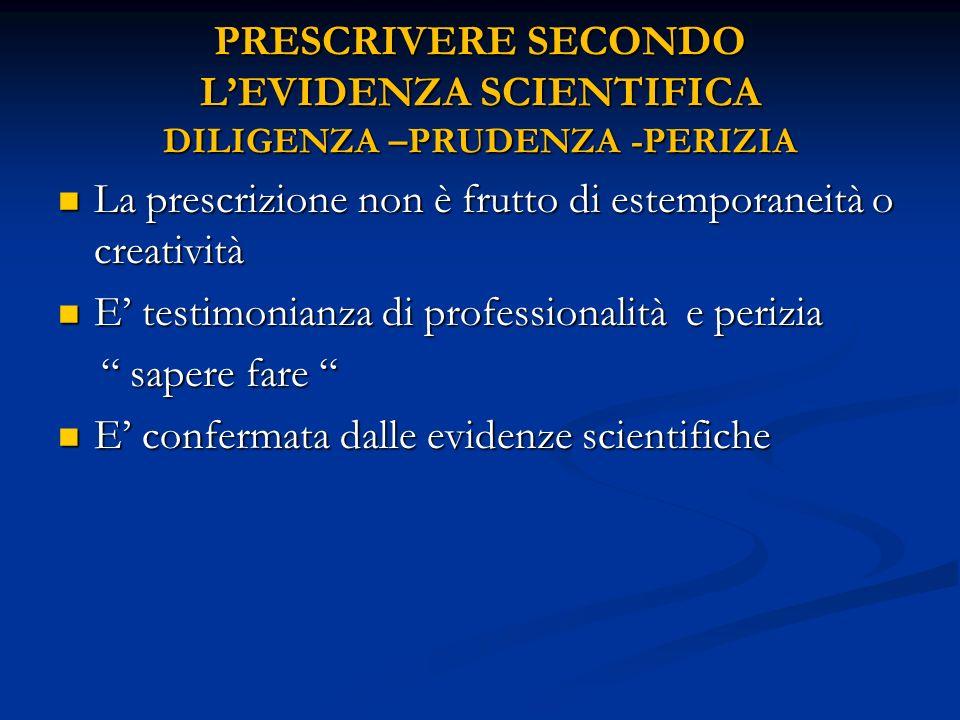 PRESCRIVERE SECONDO L'EVIDENZA SCIENTIFICA DILIGENZA –PRUDENZA -PERIZIA