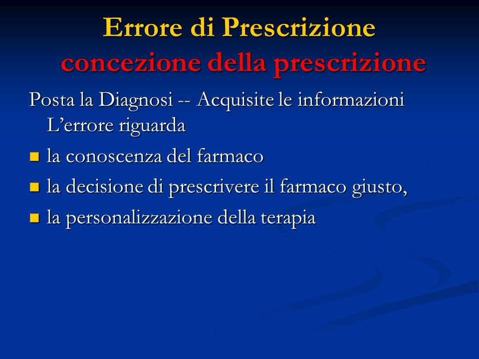 Errore di Prescrizione concezione della prescrizione