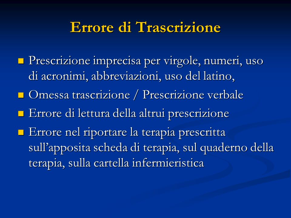 Errore di Trascrizione