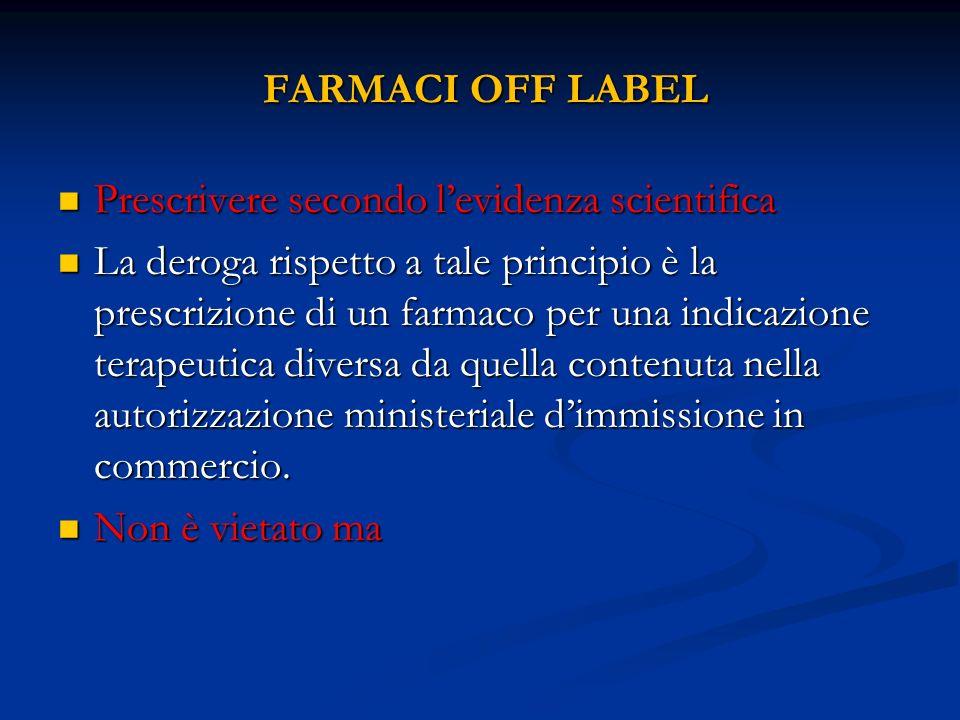 FARMACI OFF LABEL Prescrivere secondo l'evidenza scientifica.