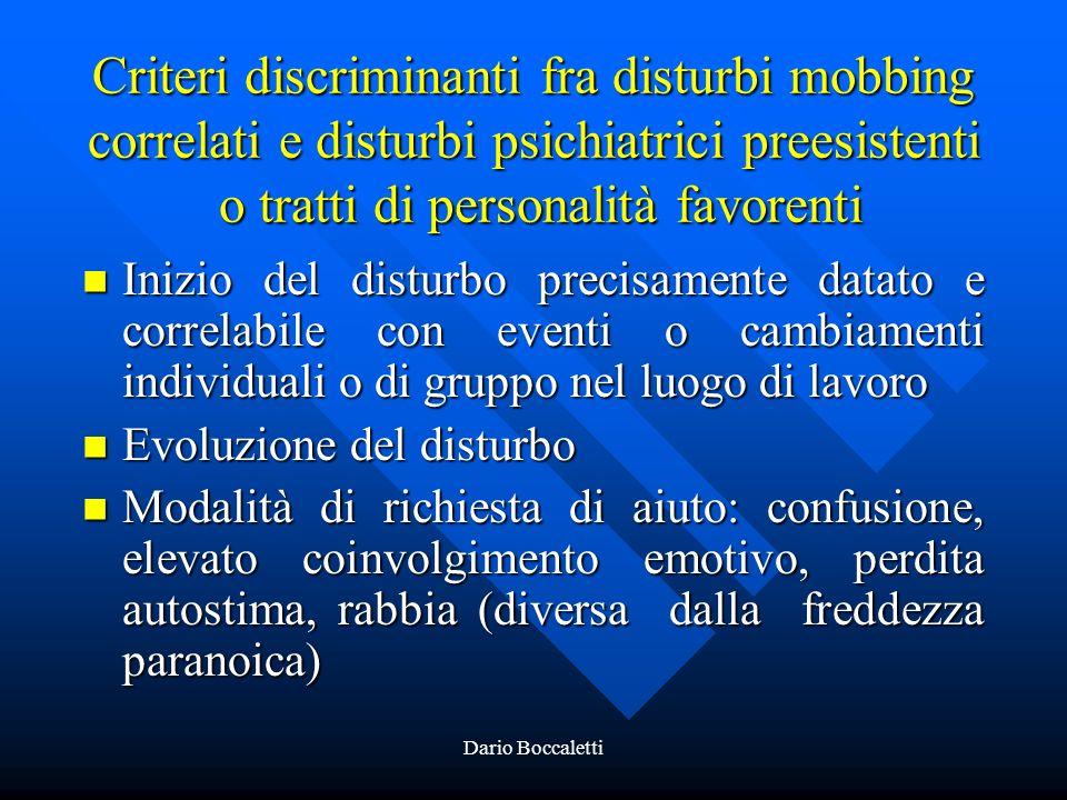 Criteri discriminanti fra disturbi mobbing correlati e disturbi psichiatrici preesistenti o tratti di personalità favorenti