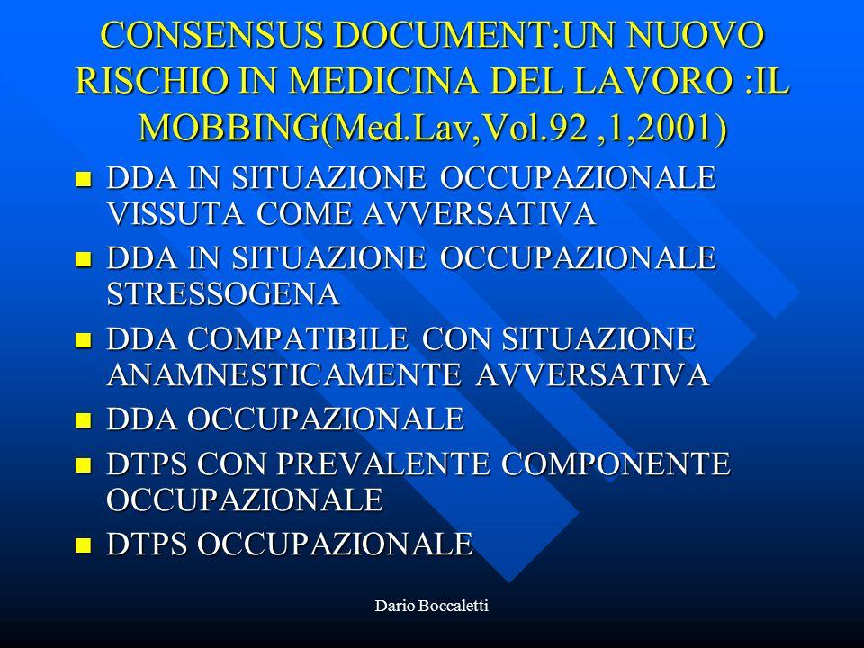 CONSENSUS DOCUMENT:UN NUOVO RISCHIO IN MEDICINA DEL LAVORO :IL MOBBING(Med.Lav,Vol.92 ,1,2001)
