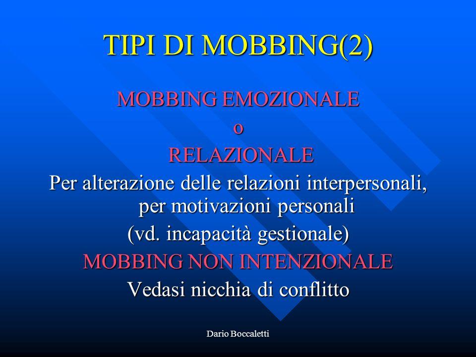 TIPI DI MOBBING(2) MOBBING EMOZIONALE o RELAZIONALE