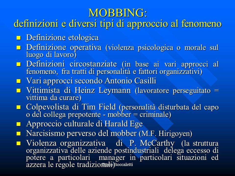 MOBBING: definizioni e diversi tipi di approccio al fenomeno
