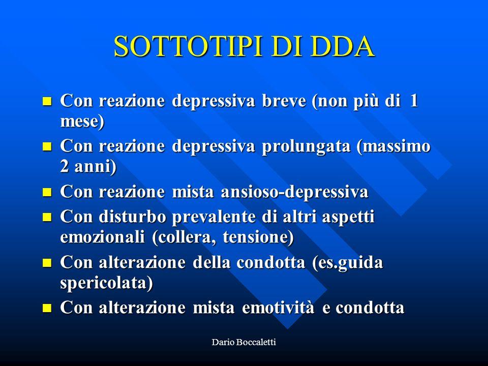 SOTTOTIPI DI DDA Con reazione depressiva breve (non più di 1 mese)