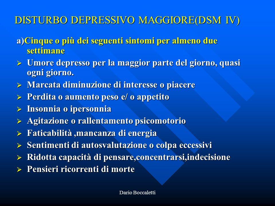 DISTURBO DEPRESSIVO MAGGIORE(DSM IV)