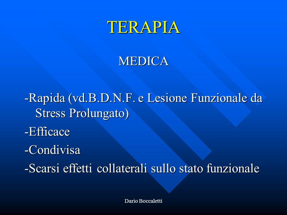 TERAPIA MEDICA. -Rapida (vd.B.D.N.F. e Lesione Funzionale da Stress Prolungato) -Efficace. -Condivisa.