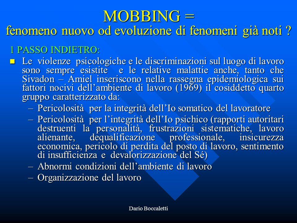 MOBBING = fenomeno nuovo od evoluzione di fenomeni già noti