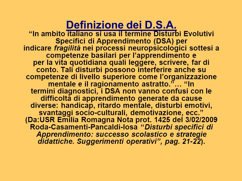 Definizione dei D.S.A.