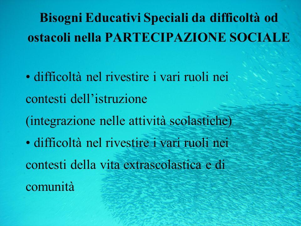 Bisogni Educativi Speciali da difficoltà od ostacoli nella PARTECIPAZIONE SOCIALE
