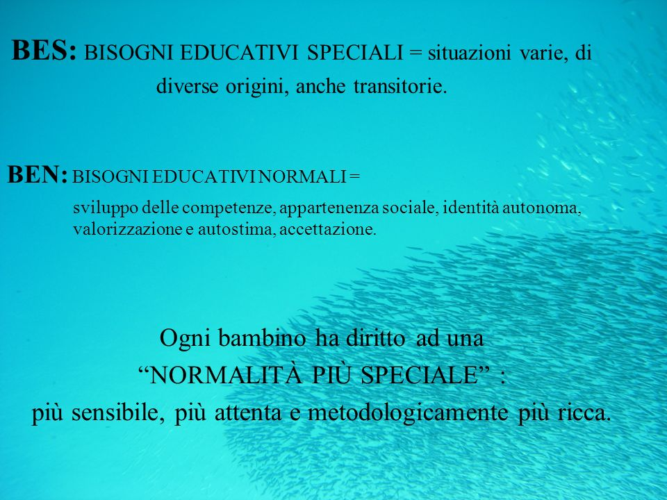 BES: BISOGNI EDUCATIVI SPECIALI = situazioni varie, di diverse origini, anche transitorie.