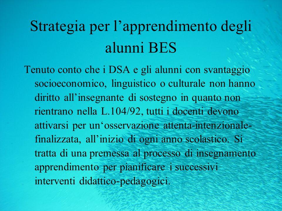 Strategia per l'apprendimento degli alunni BES