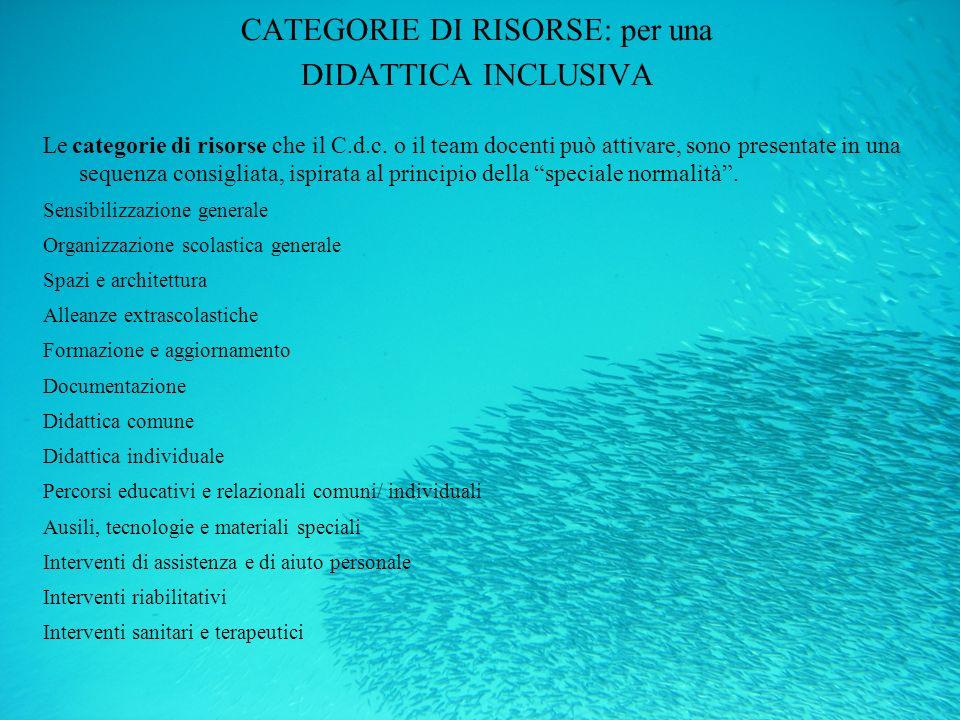 CATEGORIE DI RISORSE: per una DIDATTICA INCLUSIVA