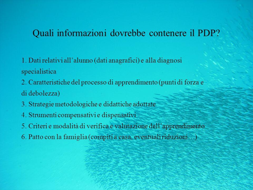 Quali informazioni dovrebbe contenere il PDP