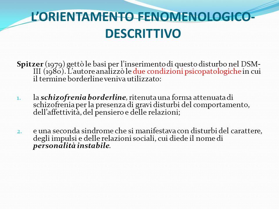 L'ORIENTAMENTO FENOMENOLOGICO-DESCRITTIVO