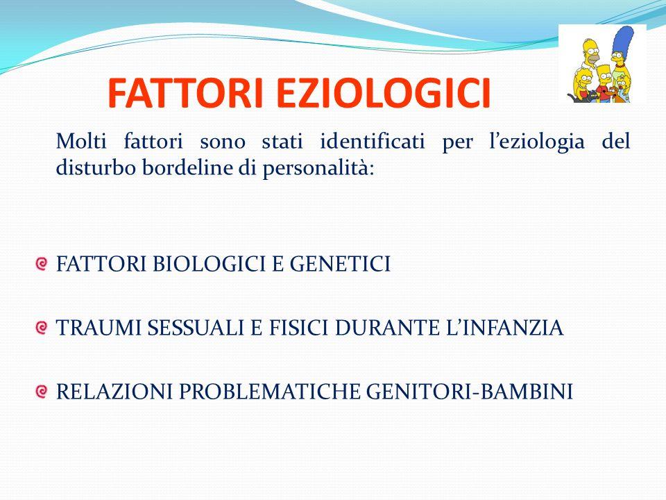 FATTORI EZIOLOGICI Molti fattori sono stati identificati per l'eziologia del disturbo bordeline di personalità: