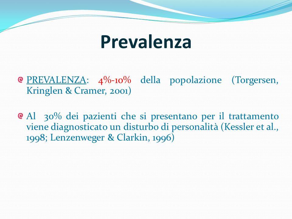 Prevalenza PREVALENZA: 4%-10% della popolazione (Torgersen, Kringlen & Cramer, 2001)