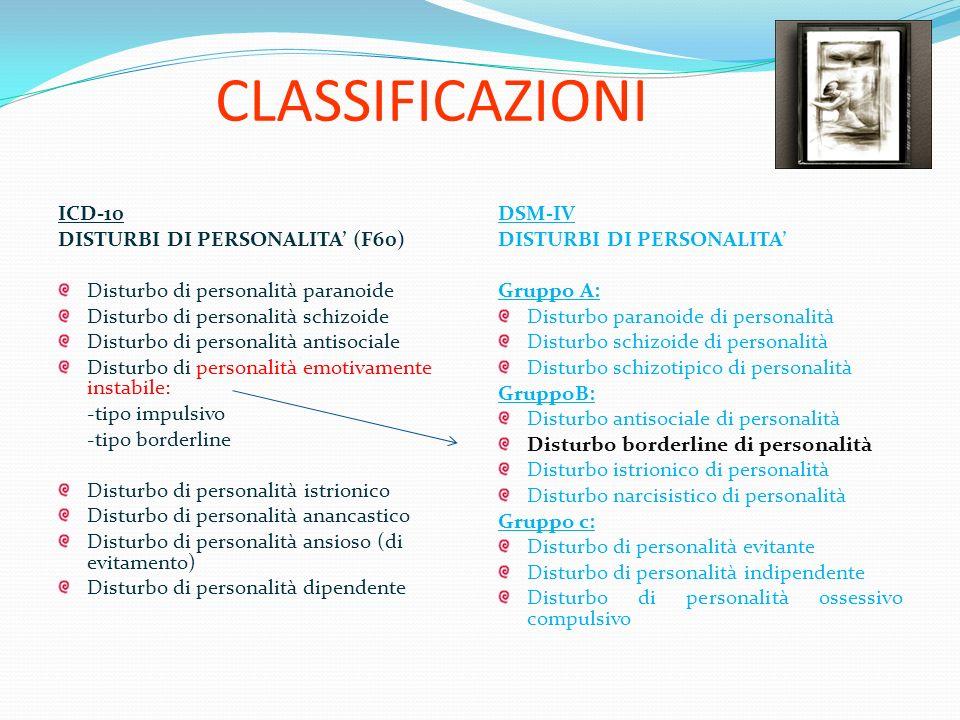 CLASSIFICAZIONI ICD-10 DISTURBI DI PERSONALITA' (F60)
