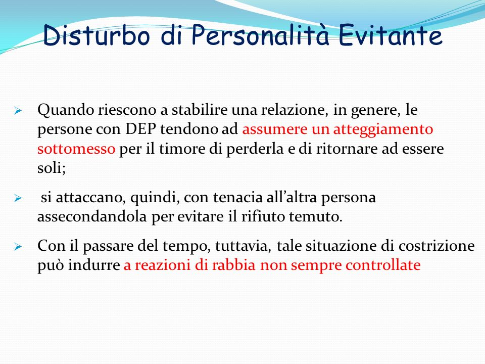 Disturbo di Personalità Evitante