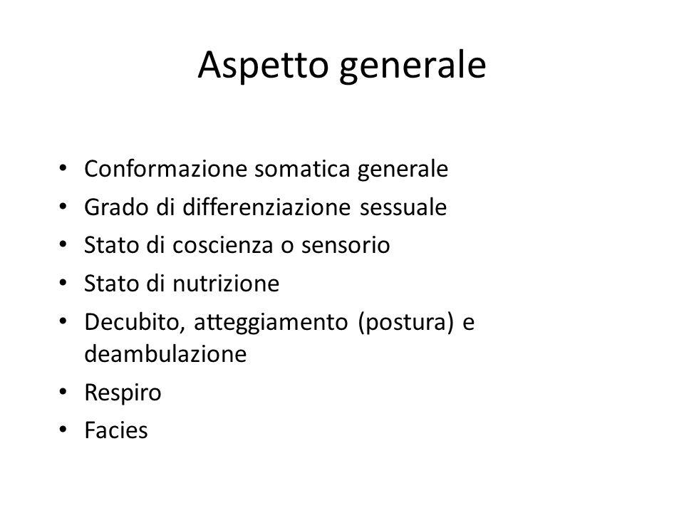 Aspetto generale Conformazione somatica generale