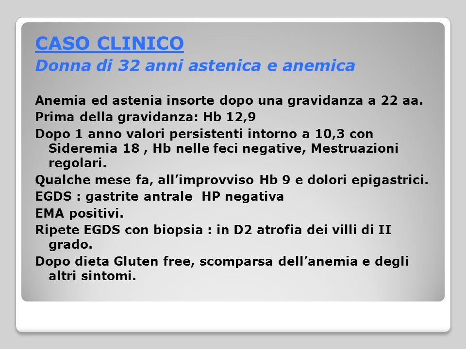 CASO CLINICO Donna di 32 anni astenica e anemica