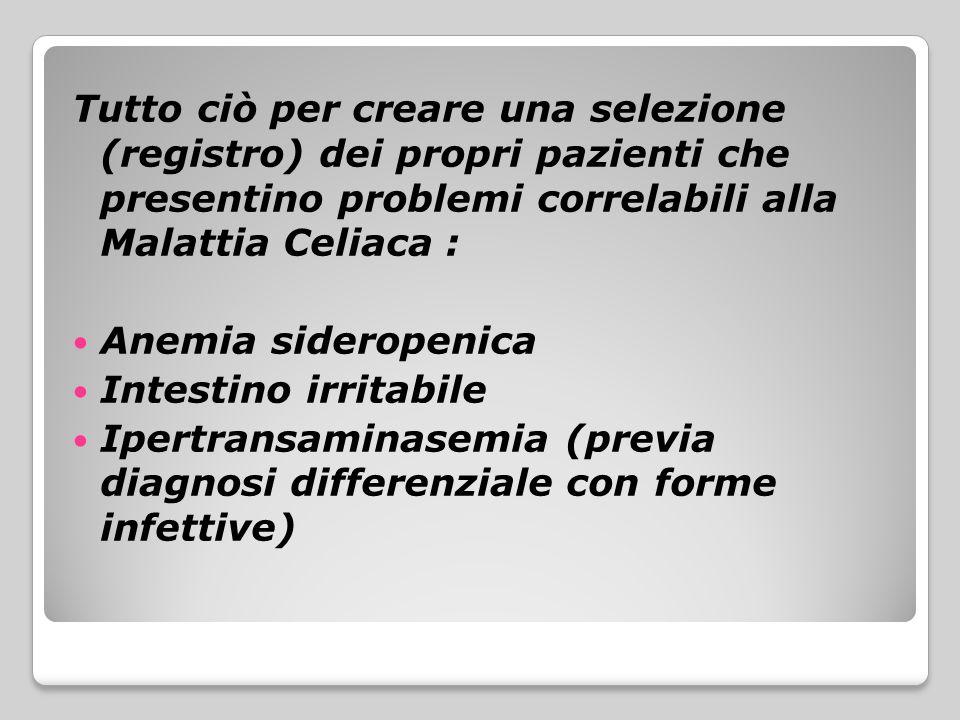 Tutto ciò per creare una selezione (registro) dei propri pazienti che presentino problemi correlabili alla Malattia Celiaca :
