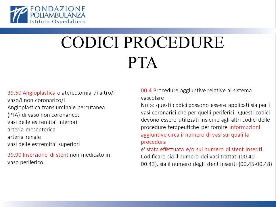 CODICI PROCEDURE PTA. 00.4 Procedure aggiuntive relative al sistema vascolare.