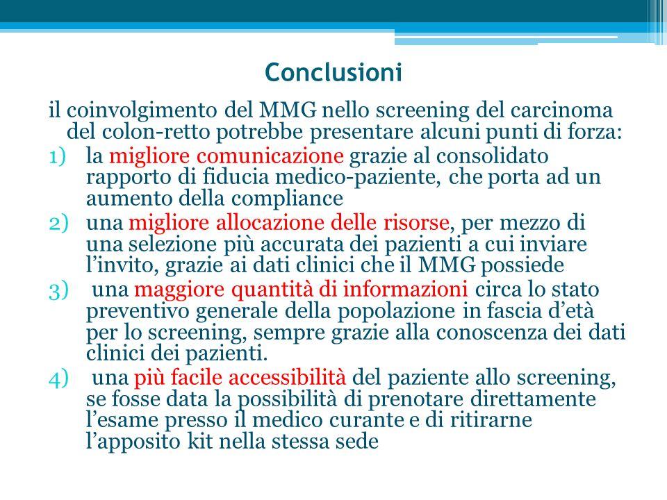 Conclusioni il coinvolgimento del MMG nello screening del carcinoma del colon-retto potrebbe presentare alcuni punti di forza:
