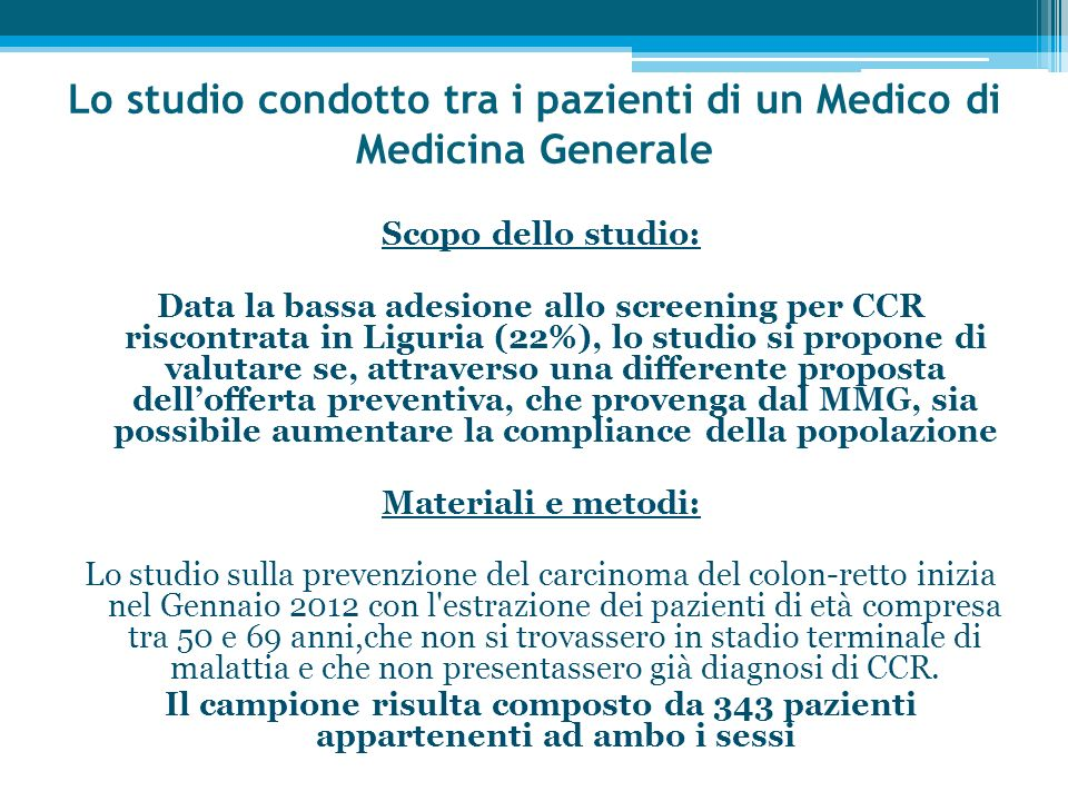 Lo studio condotto tra i pazienti di un Medico di Medicina Generale