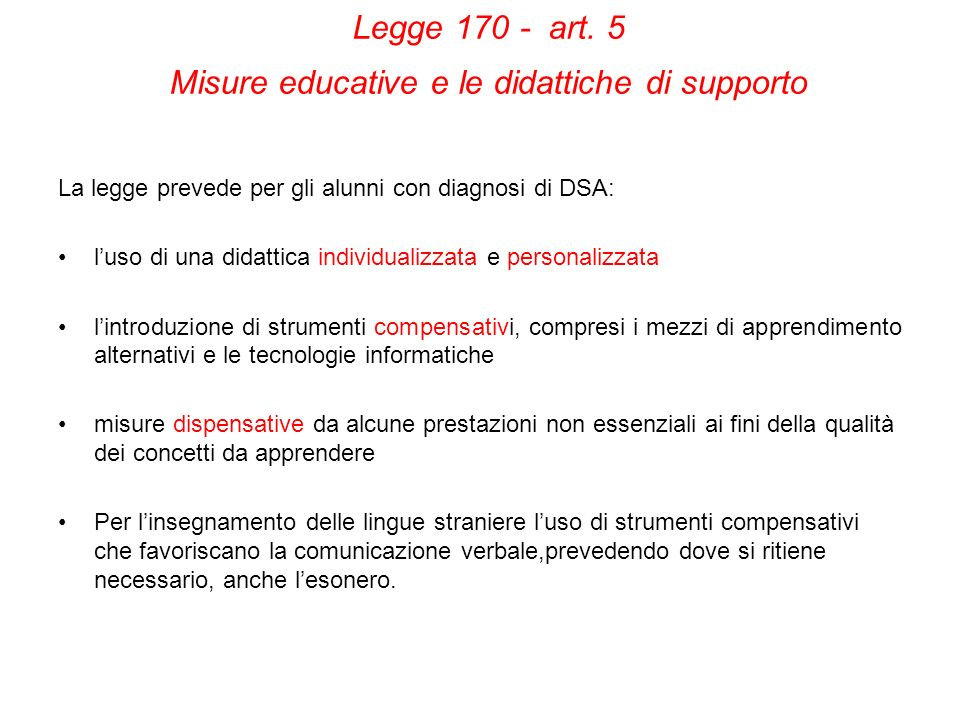 Legge 170 - art. 5 Misure educative e le didattiche di supporto