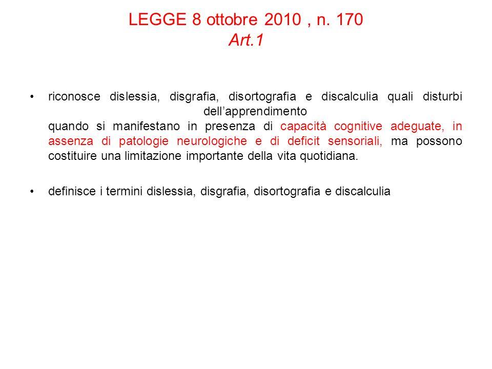 LEGGE 8 ottobre 2010 , n. 170 Art.1