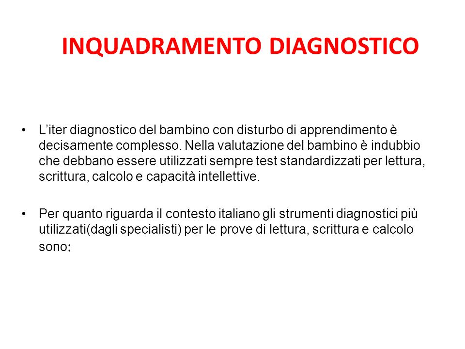 INQUADRAMENTO DIAGNOSTICO
