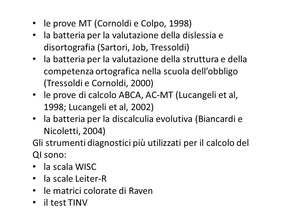 le prove MT (Cornoldi e Colpo, 1998)
