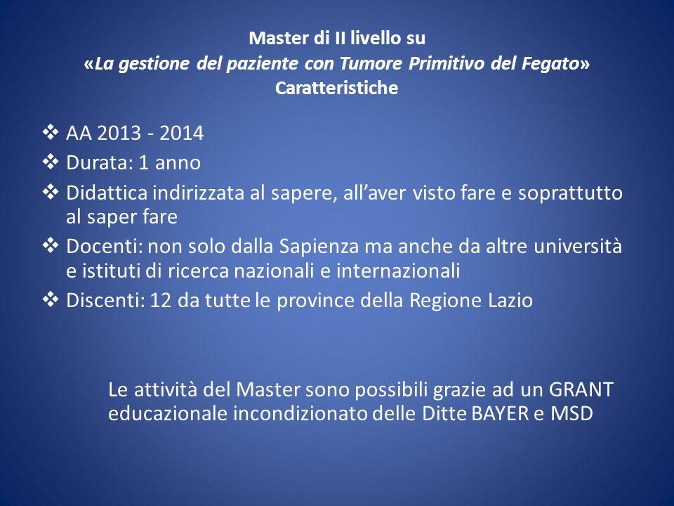 Discenti: 12 da tutte le province della Regione Lazio