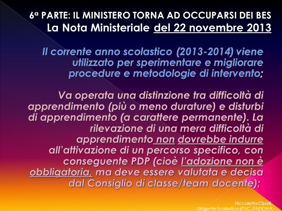 La Nota Ministeriale del 22 novembre 2013