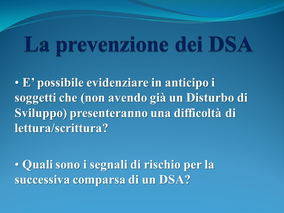 La prevenzione dei DSA