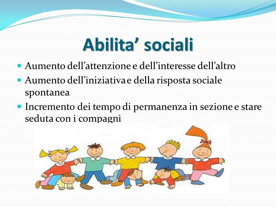 Abilita' sociali Aumento dell'attenzione e dell'interesse dell'altro