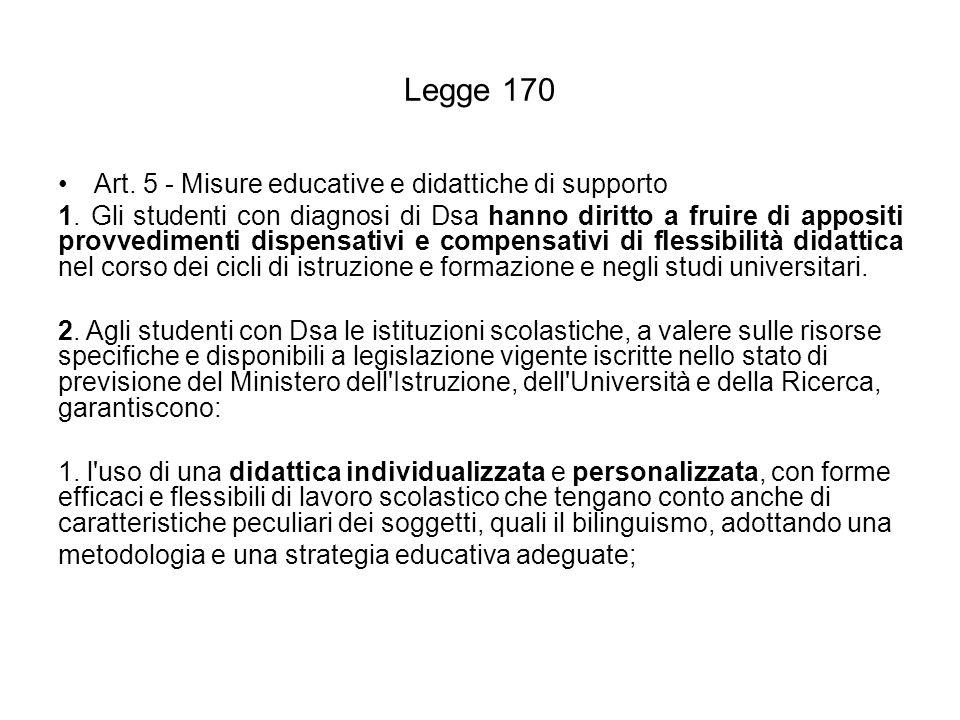 Legge 170 Art. 5 - Misure educative e didattiche di supporto