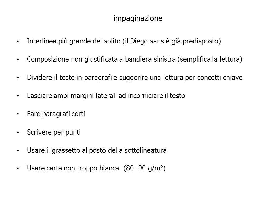 impaginazione Interlinea più grande del solito (il Diego sans è già predisposto)