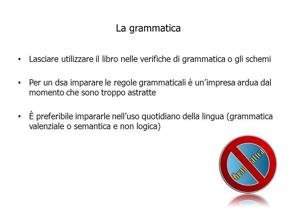 La grammatica Lasciare utilizzare il libro nelle verifiche di grammatica o gli schemi.
