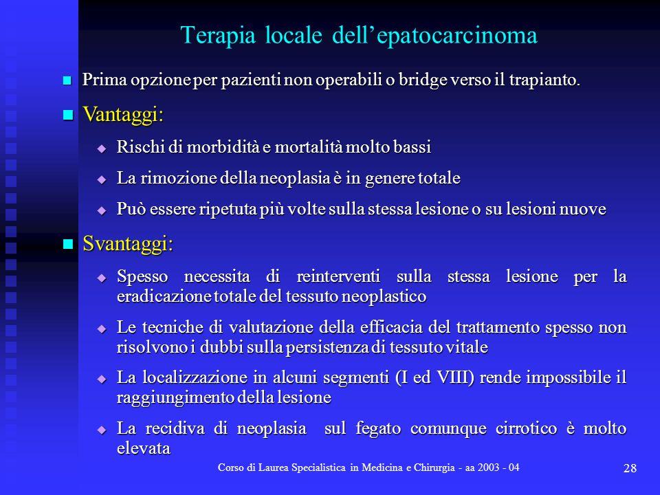Terapia locale dell'epatocarcinoma