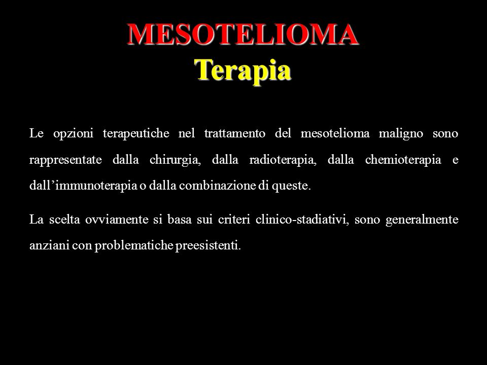 MESOTELIOMA Terapia.