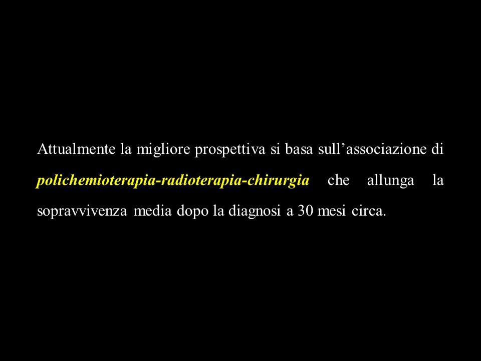 Attualmente la migliore prospettiva si basa sull'associazione di polichemioterapia-radioterapia-chirurgia che allunga la sopravvivenza media dopo la diagnosi a 30 mesi circa.